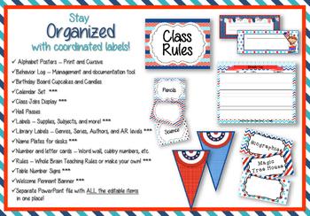 Classroom Decoration Set - Team USA: Red, White, and Blue Color Scheme
