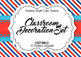 Classroom Decoration Set - Team USA: Red, White, and Blue Color Scheme