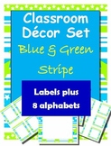 Classroom Decorations: Blue and Green Stripe Labels, Name Plates and Alphabets
