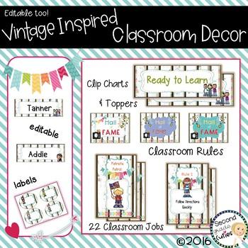 Classroom Decor Rules, Behavior Clip Chart, Jobs & more Vintage Wood Love