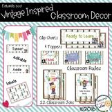 Classroom Vintage Decor Behavior Clip Chart, Class Rules, Jobs & more
