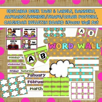 Classroom Decor Bundle Editable Burlap Polka Dot