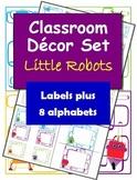 Classroom Decorations: Little Robots Labels, Name Plates and Alphabets