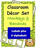 Classroom Decorations: Monkeys and Bananas Labels, Name Plates and Alphabets