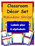 Classroom Decorations: Rainbow Stripe Labels, Name Plates and Alphabets