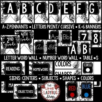 Black and White Theme Classroom Decor- Editable