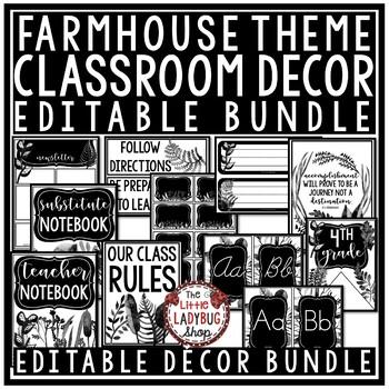 Farmhouse Classroom Decor Editable Black White Classroom