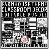 Farmhouse Classroom Themes Decor Bundles: Black and White Classroom Decor