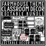 Farmhouse Classroom Decor EDITABLE Black & White Classroom
