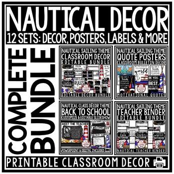 Sailing & Nautical Theme Classroom Decor Editable- Nautical Classroom Theme
