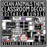 Ocean Theme Classroom Decor: Newsletter Template Editable, Name Tags, Banner