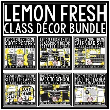 Lemon Classroom Themes Decor Bundle: Farmhouse Classroom Decor, Lemon Theme
