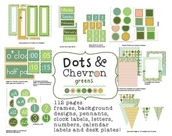 Classroom Design Kit - Dots and Chevron - green