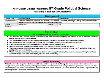 Classroom Design Plan for Political Science/Government Class