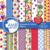 Classroom Digital Papers, Animal Back to School Backgrounds, AMB-1408