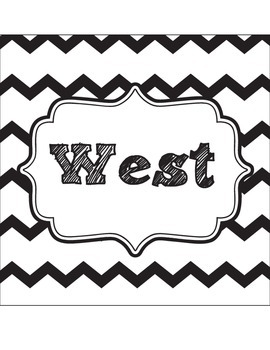 Classroom Direction Signs Black and White Chevron - North, South, East, West