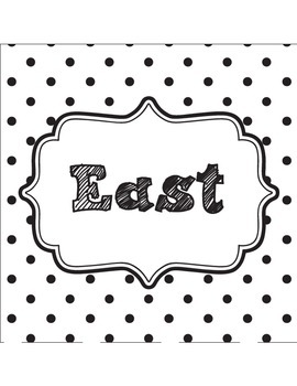 Classroom Direction Signs Black and White Polka Dot - North, South, East, West