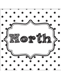 Classroom Direction Signs Black and White Polka Dot - Nort