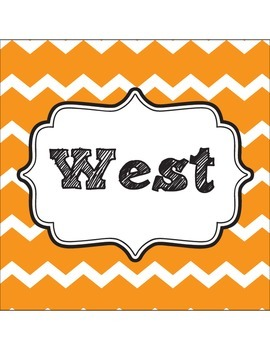 Classroom Direction Signs Multi-color Chevron - North, South, East, West