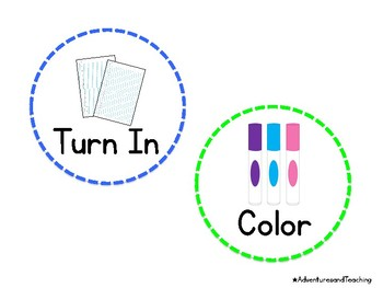 Classroom Picture Directions Labels {White Background}