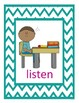 Illustrated Classroom Directions Picture Cards for Young L