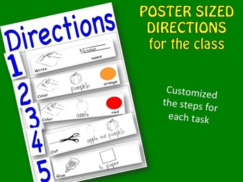 Classroom Directions Poster-Picture display to post step by step directions