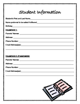 Classroom Directory Student Information Sheet