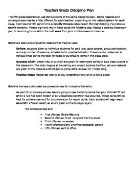 Classroom Discipline Plan Template- Just add your information Printout