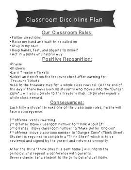 Classroom Discipline/Behavior Management Plan and Classroom Rules