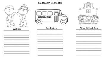 Classroom Dismissal Forms
