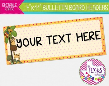 Bulletin Board Headers - Animal Theme {EDITABLE}