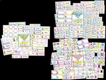 Classroom Decor BUNDLE Classroom Labels, Signs, WALTs & Goals Display USA