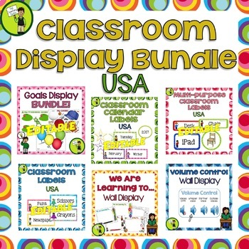 Classroom Decor BUNDLE Classroom Labels Signs WALTs Goals Display USA