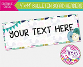 Bulletin Board Headers - Blue Floral {EDITABLE}