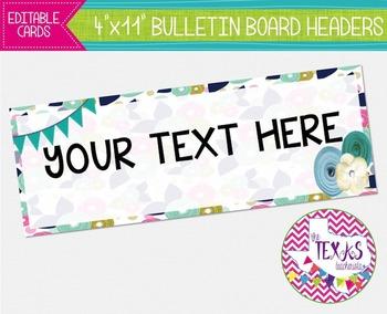Bulletin Board Headers - Blue Floral {EDITABLE}