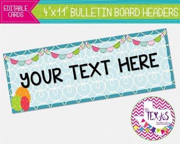 Bulletin Board Headers - Blue, Green and Orange {EDITABLE}