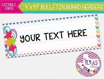 Bulletin Board Headers - Chevron and Stars {EDITABLE}