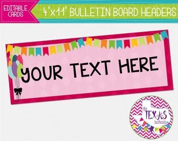 Bulletin Board Headers - Circus Theme {EDITABLE}