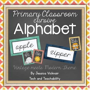 Classroom Cursive Alphabet {Vintage Meets Modern Theme}