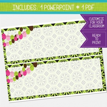 Bulletin Board Headers - Green, Chocolate Brown and Hot Pink {EDITABLE}