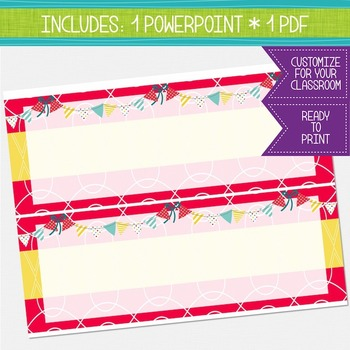 Bulletin Board Headers - Hot Pink and Yellow {EDITABLE}