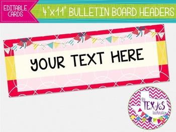 Bulletin Board Headers - Hot Pink and Yellow {EDITABLE}