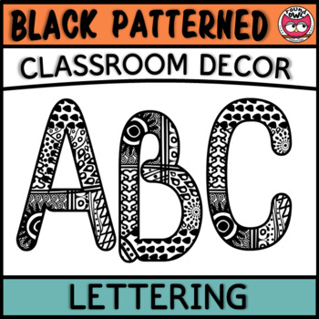 Classroom Display Letters - Black Patterned