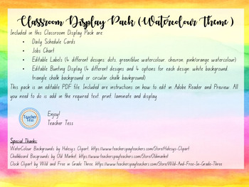Classroom Display Pack (Watercolour Theme)