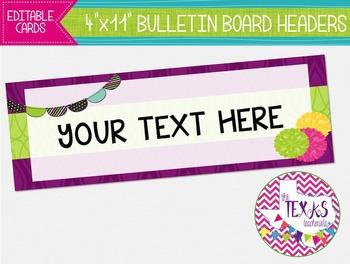 Bulletin Board Headers - Plum and Green {EDITABLE}