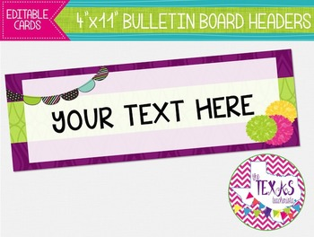 Bulletin Board Headers - Plum and Green {EDITABLE}