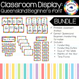 Classroom Display Poster Bundle - Queensland Beginners font (Rainbow background)