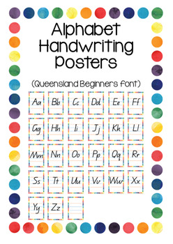 Classroom Display Poster Bundle - Queensland Beginners font (Rainbow border)