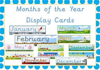 Classroom Display Cards Months of the Year Cards
