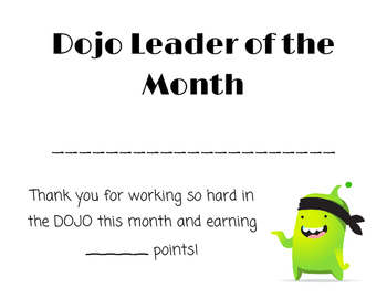 Classroom Dojo: Leader of the Month Certificate